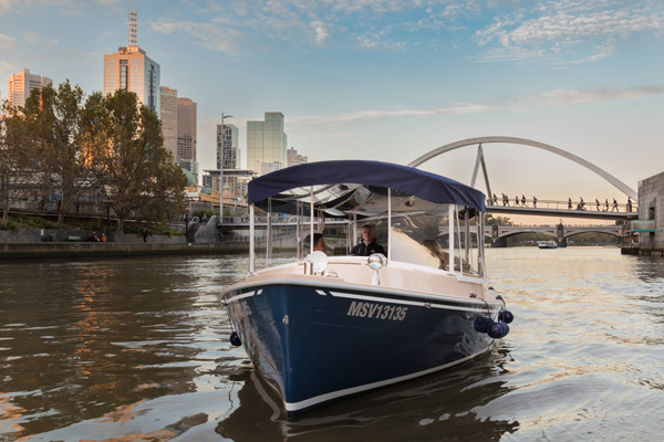 private skippered boat touring, on the Yarra river