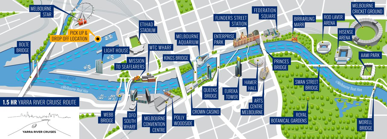 luxury yarra river cruises map